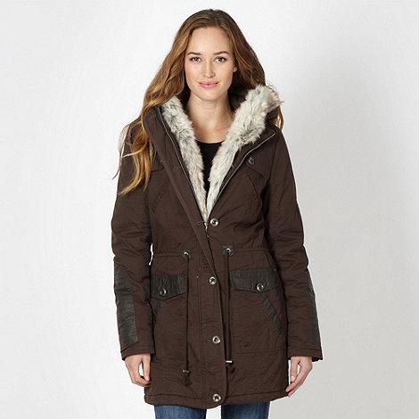 Mantaray - Chocolate faux fur trim parka jacket