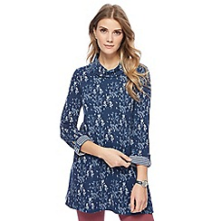 Mantaray - Blue meadow print cowl neck tunic