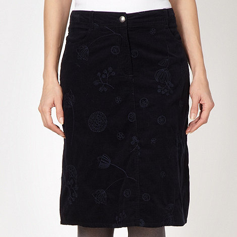 Mantaray - Navy embroidered cord skirt