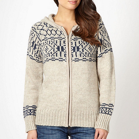 Mantaray - Natural chunky fairisle knit hooded cardigan