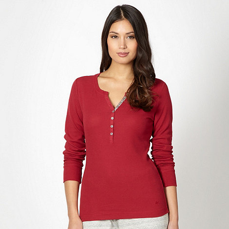 Mantaray - Dark red waffle textured loungewear top
