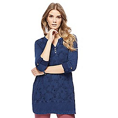 Mantaray - Navy floral embroidered tunic