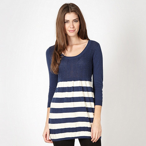 Mantaray - Navy knitted stripe cable tunic