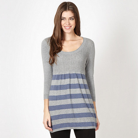 Mantaray - Grey knitted stripe cable tunic