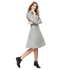 Mantaray - Grey cowl neckline 3/4 length sleeves knee length dress