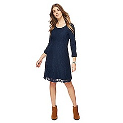 Mantaray - Navy jersey long sleeves knee length dress