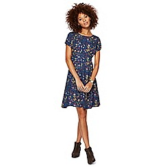 Mantaray - Navy floral print 'Scandi' knee length dress