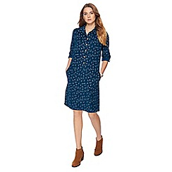Mantaray - Dark turquoise origami print knee length shirt dress