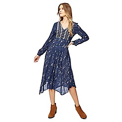Mantaray - Blue poppy print v-neck long sleeve midi dress