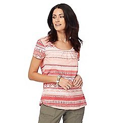 Mantaray - Light orange Aztec print top