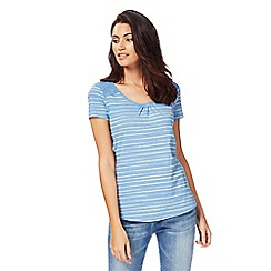 Mantaray - Blue striped broderie top