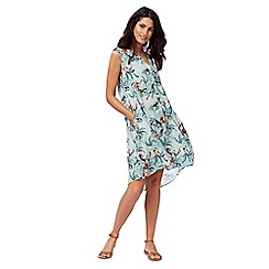 Mantaray - Light blue parrot print dress