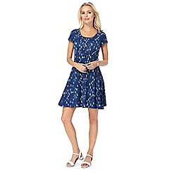 Mantaray - Navy 'Bird' skater dress