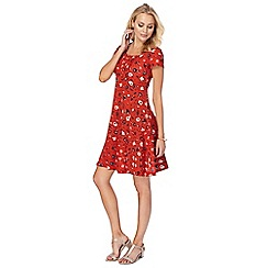 Mantaray - Red 'Bloom' skater dress