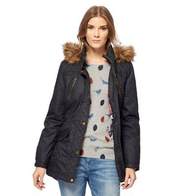 Mantaray Black fur hooded wax parka jacket | Debenhams