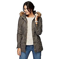 Mantaray - Khaki faux fur hooded wax parka jacket