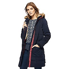 Mantaray - Navy borg lined longline puffer coat