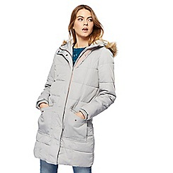 Mantaray - Silver borg lined longline puffer coat
