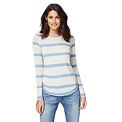 Mantaray - Blue and yellow button side stripe jumper