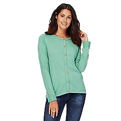 Mantaray - Green crew neck cardigan with wool