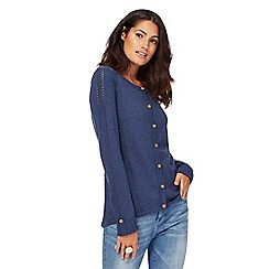 Mantaray - Navy blue crew neck cardigan with wool