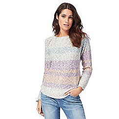 Mantaray - Light grey yarn striped jumper
