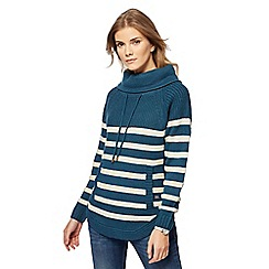 Mantaray - Turquoise striped cowl neck jumper with wool