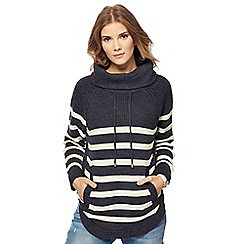 Mantaray - Navy striped cowl neck jumper with wool