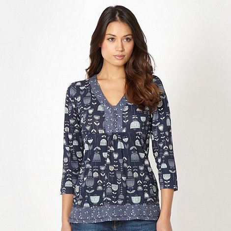 Mantaray - Navy floral button neck top