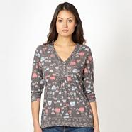 Grey floral button neck top