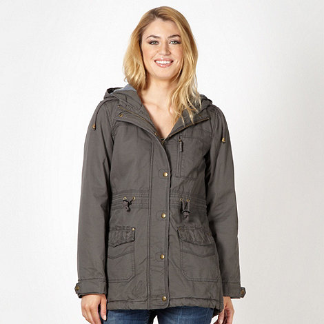 Mantaray - Grey embroidered panel parka coat