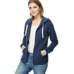 Mantaray - Navy lace applique zip through hoodie