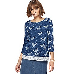 Mantaray - Navy bird print split back top