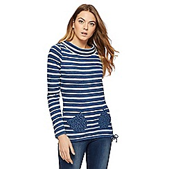 Mantaray - Blue striped cowl neck top
