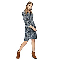 Mantaray - Navy floral print jersey knee length tunic dress