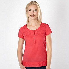 Mantaray - Pink woven embroidered neck top