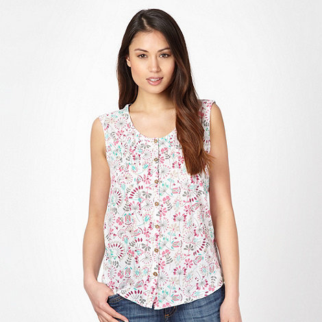 Mantaray - White woven floral vest