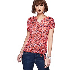 Mantaray - Red ditsy print bubble hem top