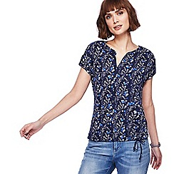 Mantaray - Navy floral print bubble hem top