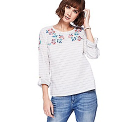 Mantaray - Off white floral embroidered shell top