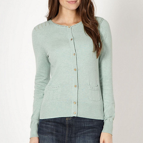 Mantaray - Pale green crochet cardigan