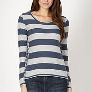 Dark blue mixed stripe jumper