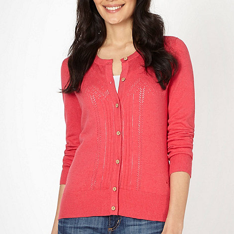Mantaray - Dark pink round neck pointelle cardigan