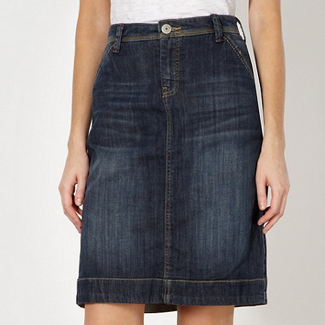 Mantaray - Dark blue denim A-line skirt