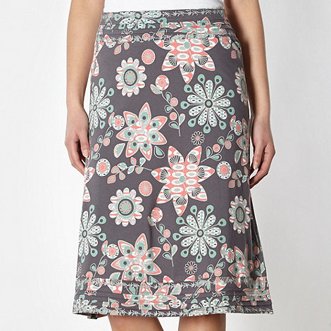 Mantaray - Grey floral embroidered hem jersey skirt