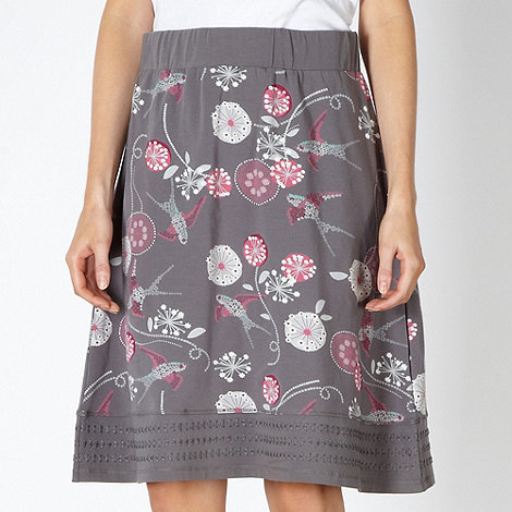 Mantaray - Grey floral swallow skirt