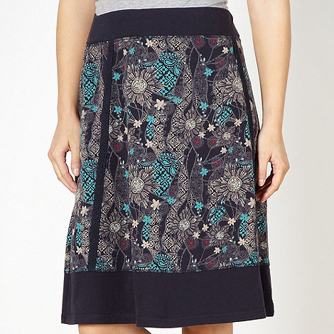Mantaray - Navy broderie floral pattern A-line skirt