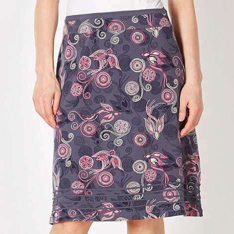Mantaray - Dark blue falling bird print skirt