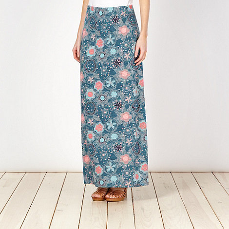 Mantaray - Turquoise sketch floral maxi skirt