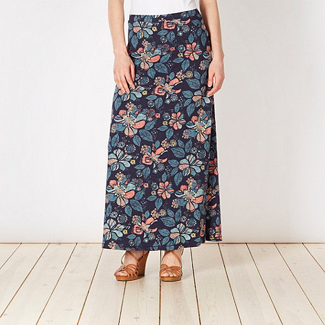 Mantaray - Navy etched leaf print maxi skirt